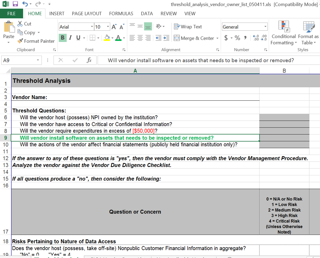 Potential New Threshold Analysis