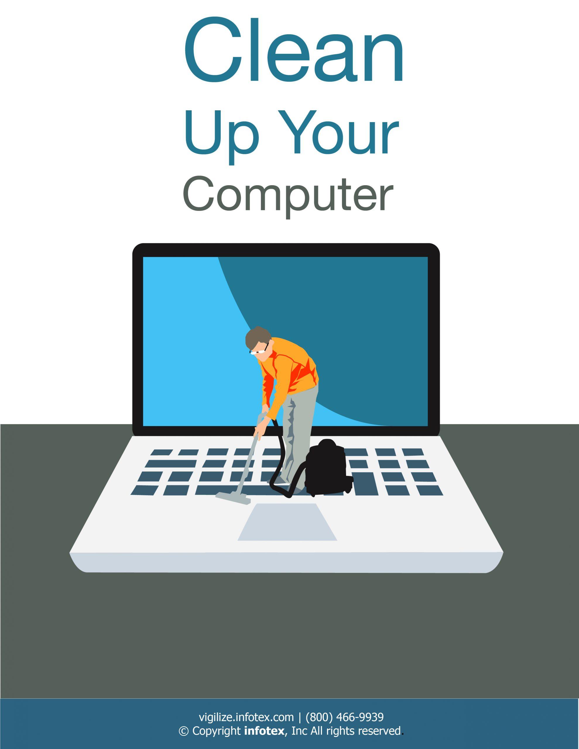 cartoon of man with vacuum on laptop